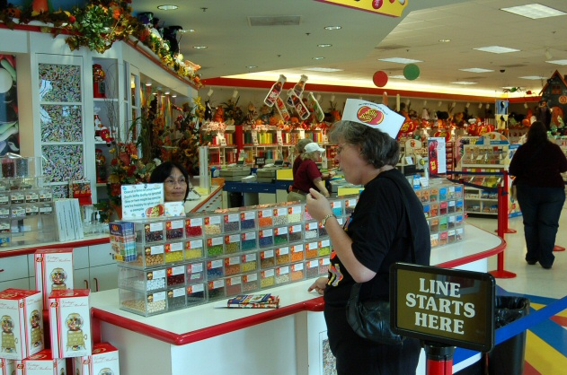 Connie sampling Jelly Belly's