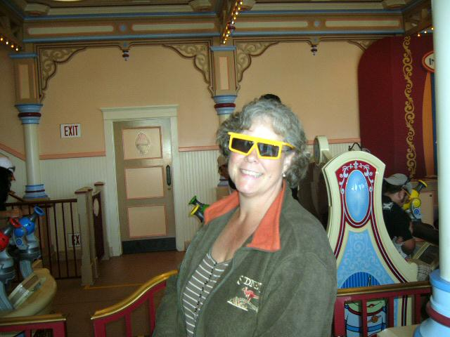 Connie ready for the Toy Story 3D ride