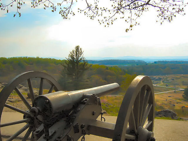 View from Little Round Top Hill, Gettysburg PA