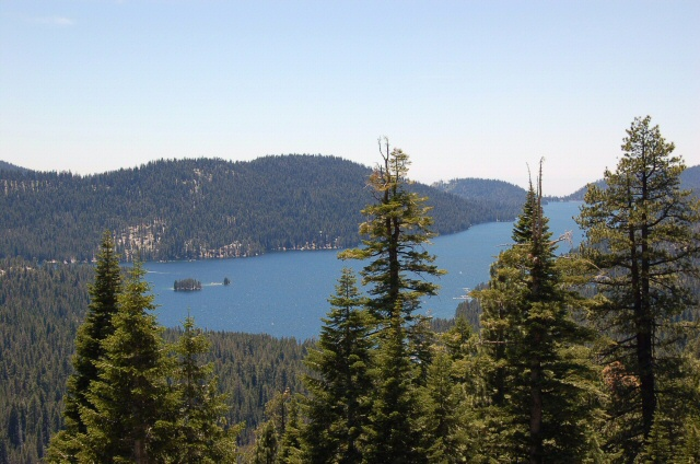 Looking out over Huntington Lake, CA