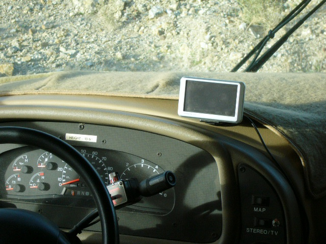 Garmin Nuvi 750 GPS mounted in motor home.